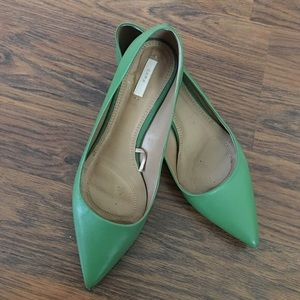 ZARA MINT GREEN POINTED KITTEN HEELS