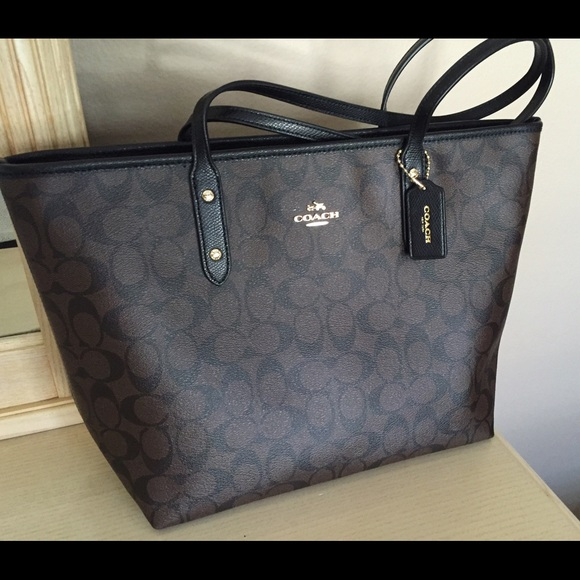 9253df475197 COACH City Zip Tote in Signature Coated Canvas