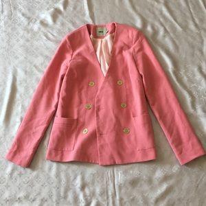 Asos Gold Botton Down Blazer Pink 2