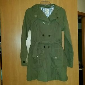 Tulle Olive Trench coat in size small