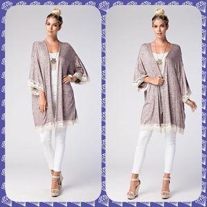 3/4 kimono sleeve cardigan lace trim edges