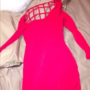 Bright red dress with cut out back