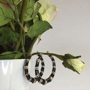 Jewelry - Black & Silver Hoops