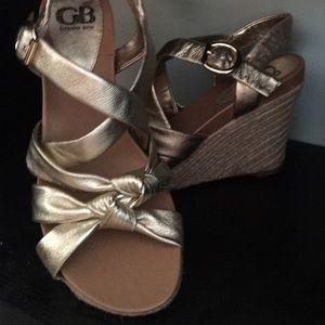 Gianni Bini Shoes - Gianni Bini Metallic Gold sandal Rope Wedges