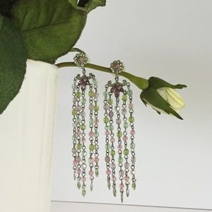 Jewelry - Pink & green silver chandelier earrings✨