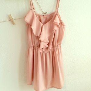 Cinched pink chiffon blouse
