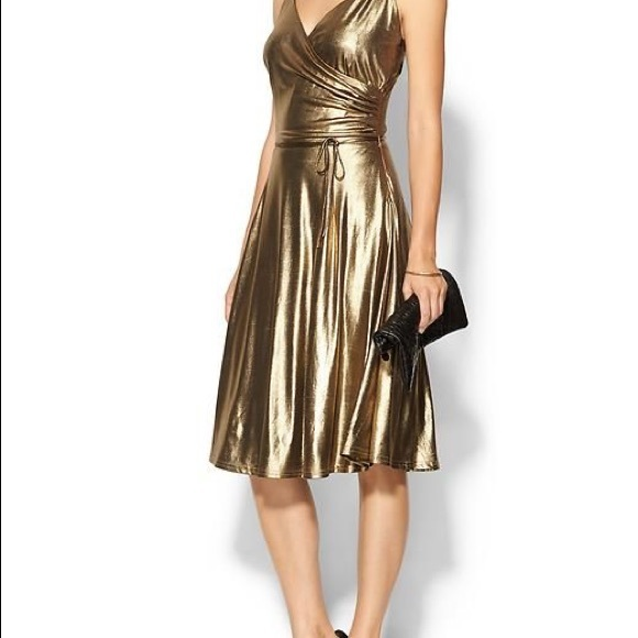 Piperlime Dresses | Gold Lame Spaghetti Strap