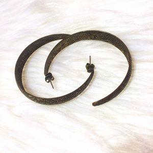 H&M Jewelry - Darkened Gold Floral Engraved Hoop Earrings