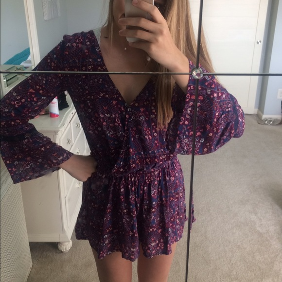 addb1a79b439 American Eagle Outfitters Dresses   Skirts - Purple floral AEO romper
