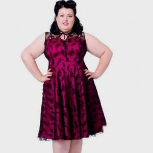 Voodoo Vixen Dresses & Skirts - Floral Flocked Lace Overlay Flaired plus size