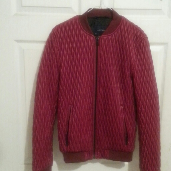 Zara Jackets Amp Coats Men Red Faux Leather Quilted Jacket