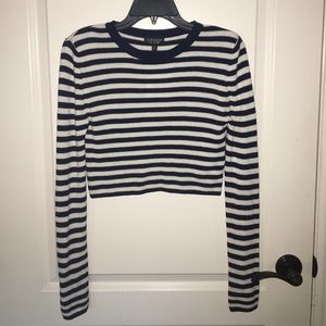 TOPSHOP navy blue/white striped long sleeve crop