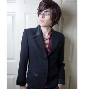 Black Pure Wool Blazer Jacket Vintage Unisex Sz 10
