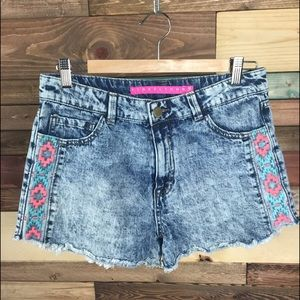 Tinseltown Pants - Acid Wash Embroidered High Waisted Denim Cut Offs
