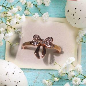 Elegant rose gold Bow diamond Crystal ring