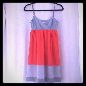 Orange & Grey Colorblock Summer Dress