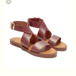 Brown leather ZARA ankle wrap sandals 10