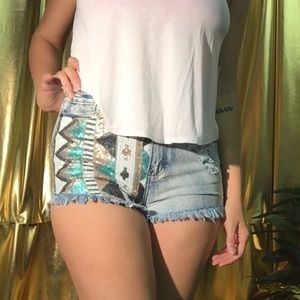 Pants - Tribal Sequin High Waisted Shorts