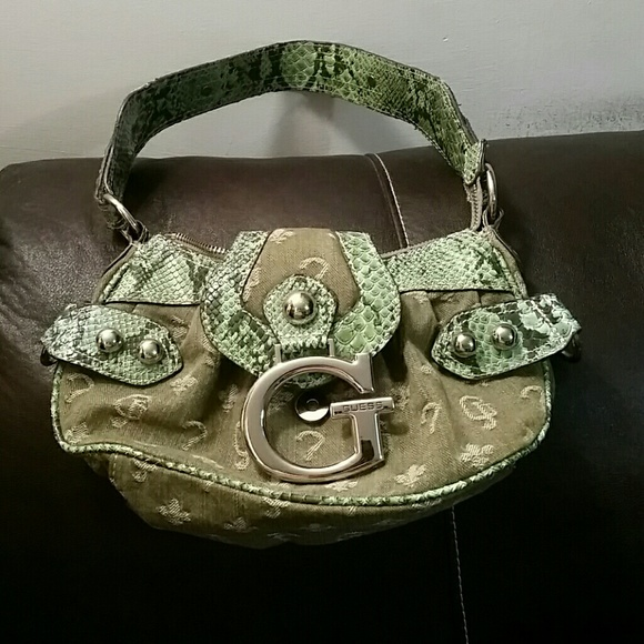 Guess Bags | Green Faux Snake Skin Purse