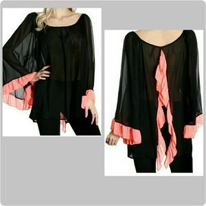Boutique Tops - Romantic Sheer Black and Pink Open Back Blouse
