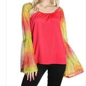 Boutique Tops - Adorable Bell Sleeve Multi Crochet Blouse!