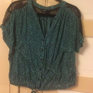 Rue21 Tops - Rue 21 teal & black lacy top size xl.