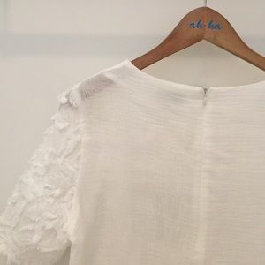 Greylin Tops - Short sleeve white embroidered shirt