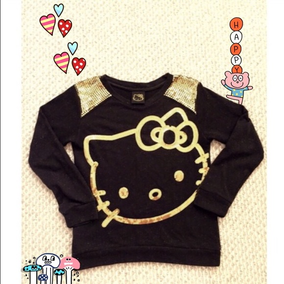 757d372f6 Hello Kitty Shirts & Tops | Kidadult Gold Sequin Knit Sweater Top ...