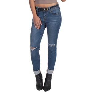 ☆ Distressed Knee Slit Denim