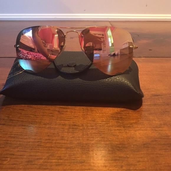 19bb40f37391 Ray-Ban Rose Gold Rimless Aviator Sunglasses. M_5770025cbf6df50c7b0821d1