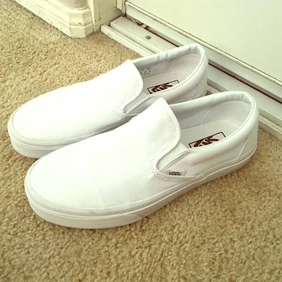 Vans Shoes | All White Vans Slip Ons