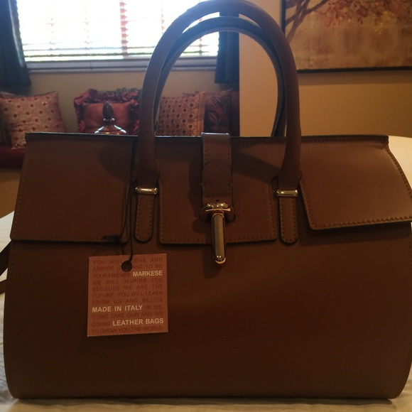 02a7b10d36 Italian Markese leather satchel in saddle color