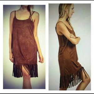 Very J Dresses & Skirts - Sexy Boho Fringe Brown Suede Dress💃🏻LAST ONE😘