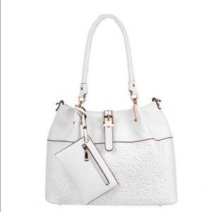 Black Rivet Handbags - Beautiful large white faux leather bag!