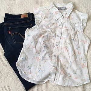 Anchor blue Tops - Girly western top