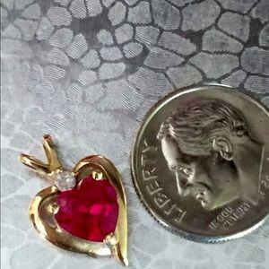 Vintage Other - 10K GOLD RUBY & CZ CHARM