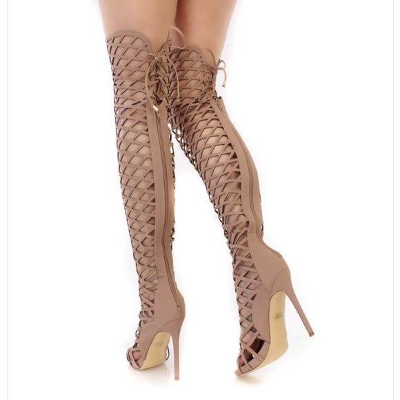 45% off Olivia Jaymes Shoes - NIB Nude Thigh High Caged Boot ...