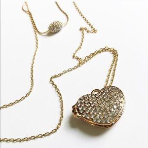 New York & Company Jewelry - NWT NY&Co 2-Piece Pave Heart Locket