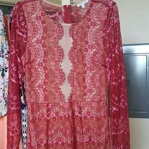 Charlotte Russe Dresses & Skirts - Red and pink lacey mini dress