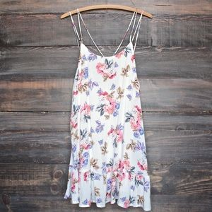 Dresses - Floral Print Strappy Back Trapeze Dress