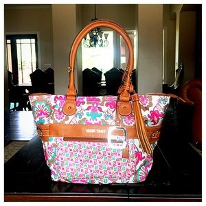 Ellen Tracy Pink Patterned Tote