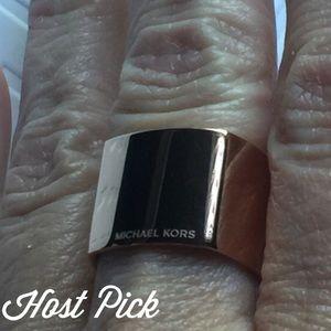Michael Kors Jewelry - MICHAEL KORS Rose Goldtone Logo Band Ring