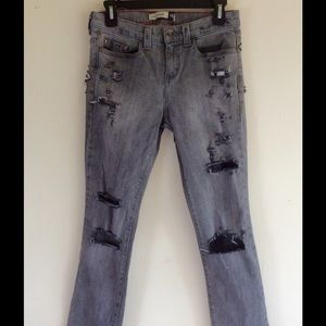 Anchor Blue Denim - Destroyed Skinny Jeans Grey Denim Mid Rise