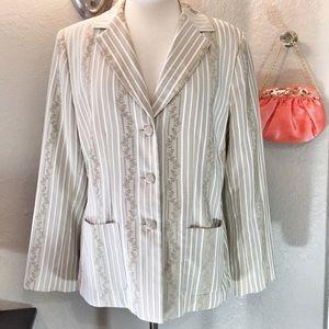 Kasper Jackets & Blazers - Kasper Blazer Jacket Tan & White Stripes Size 12