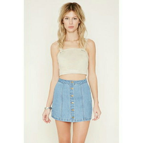 7087280fd9 Forever 21 Skirts | Denim Button Up Skirt | Poshmark