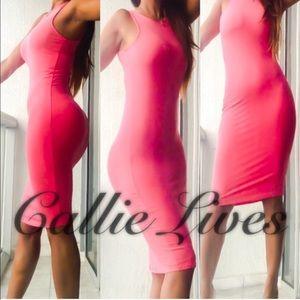 Pink Coral FIRM Sleeveless Bodycon Midi Dress