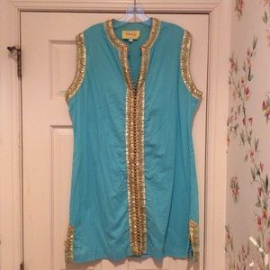 Aqua & gold tunic/dress