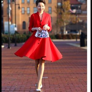 Vintage inspired A-line red dress