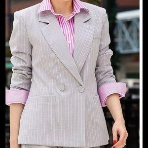 Double breasted striped blazer in grey