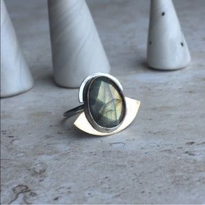 Large Statement Sterling Silver Labradorite Ring 6
